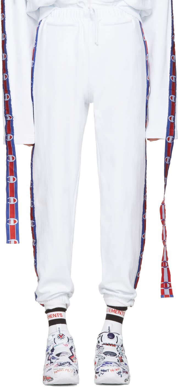 Vetements ホワイト Champion Edition テープ トラック パンツ