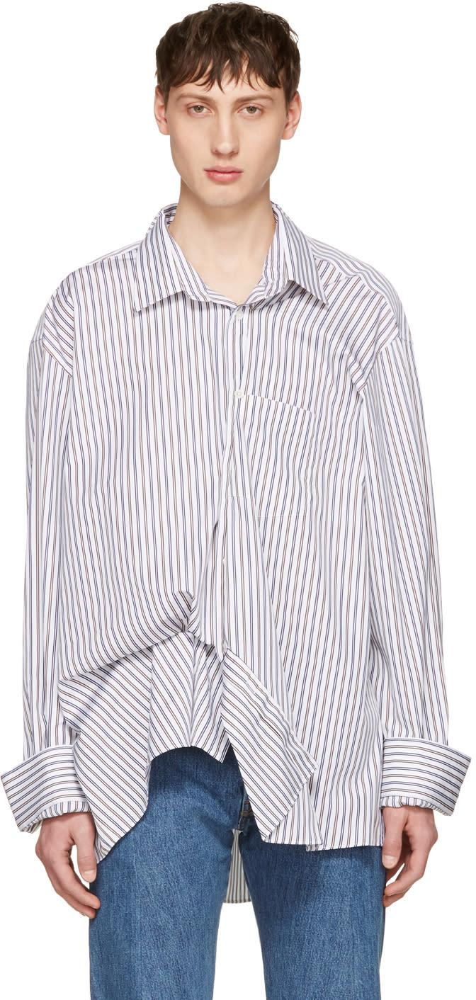 Vetements Brown and Navy Comme Des Garcons Shirt Edition Asymmetric Packshot Shirt