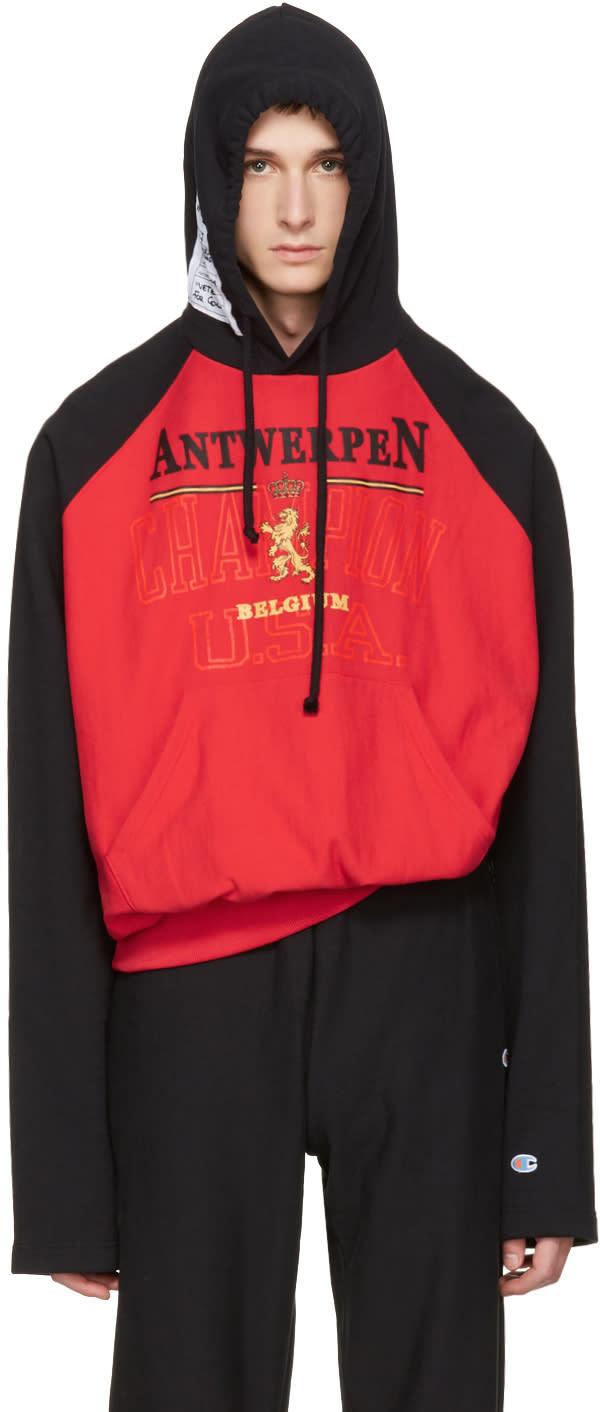 Vetements レッド and ブラック Champion Edition Antwerpen フーディ
