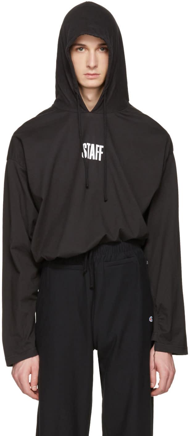 Vetements ブラック Hanes Edition Staff フーディ