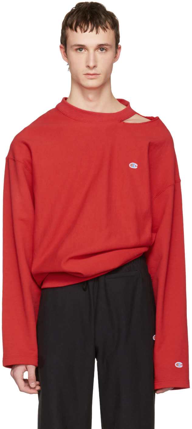 Vetements Red Champion Edition Cut Out Neckline Pullover