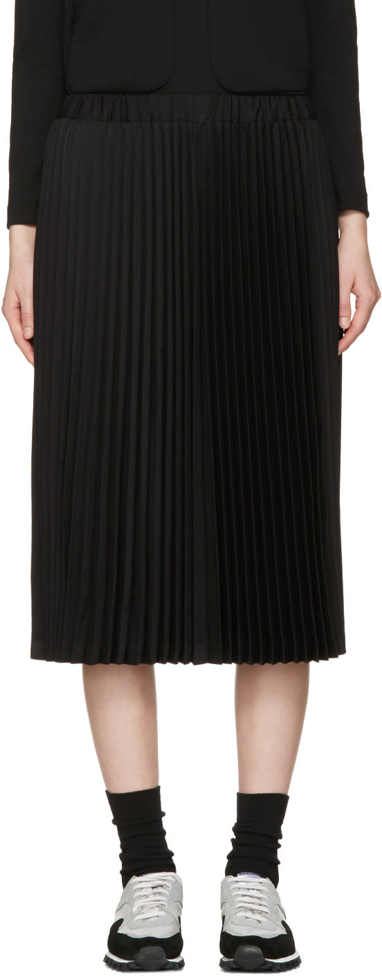 Comme Des Garcons Girl Black Wool Pleated Skirt