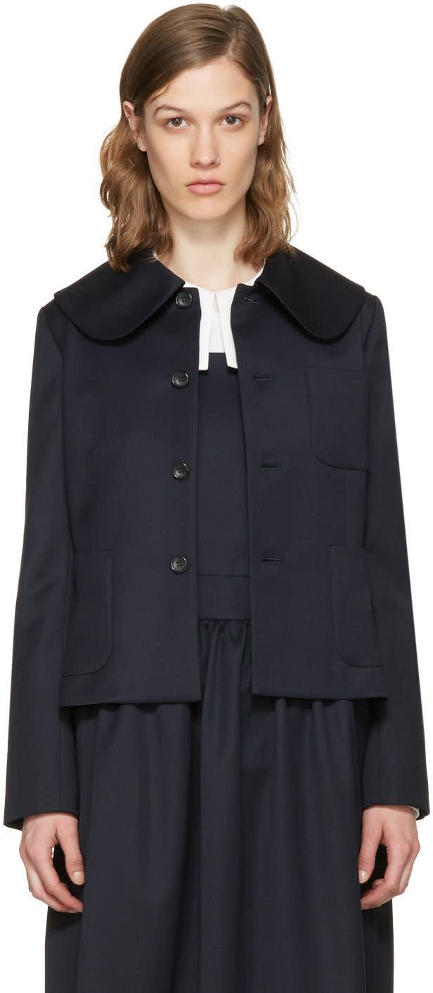Comme Des Garcons Girl Navy Large Collar Jacket