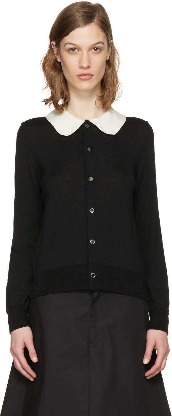 Image of Comme Des Garçons Girl Black Crochet Collar Cardigan