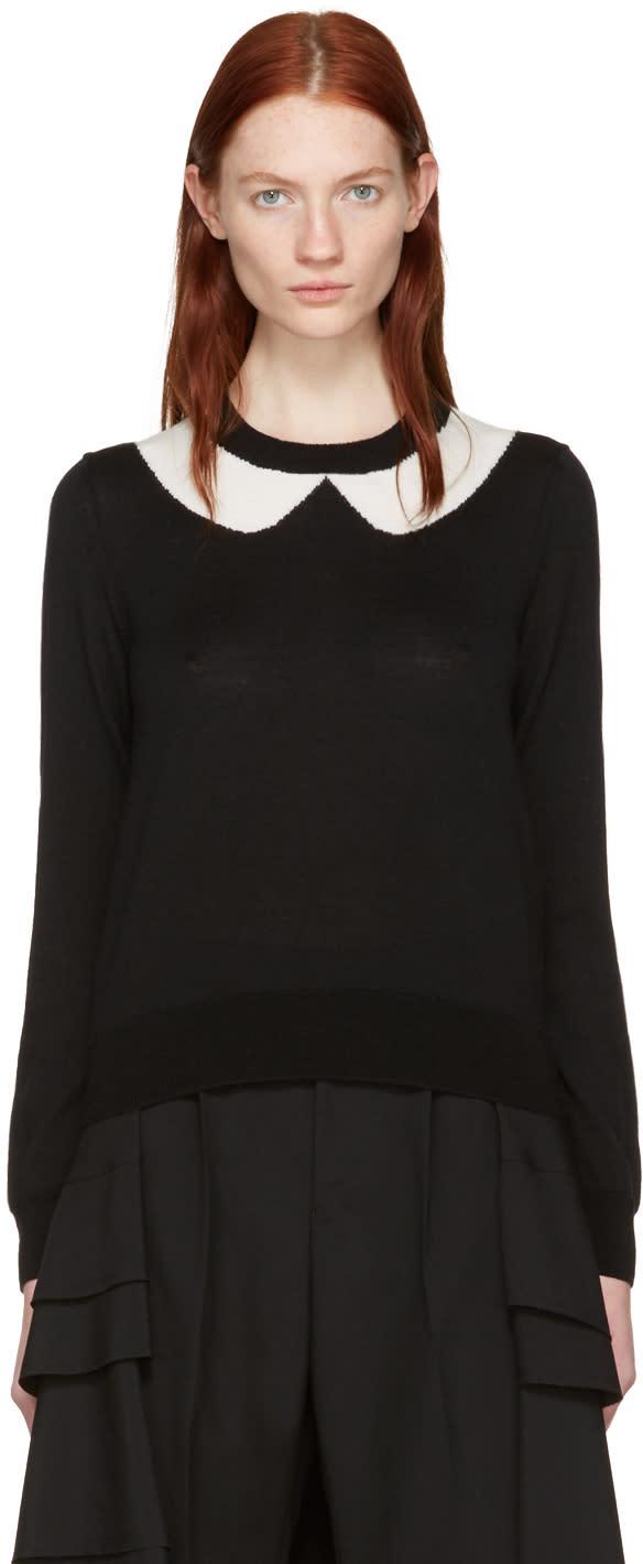 Comme Des Garçons Girl Black Intarsia Collar Sweater