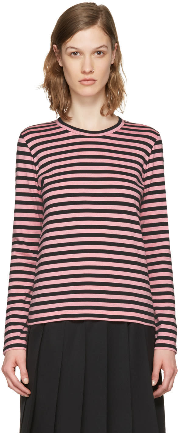Comme Des Garcons Girl Pink Striped Long Sleeve T-shirt