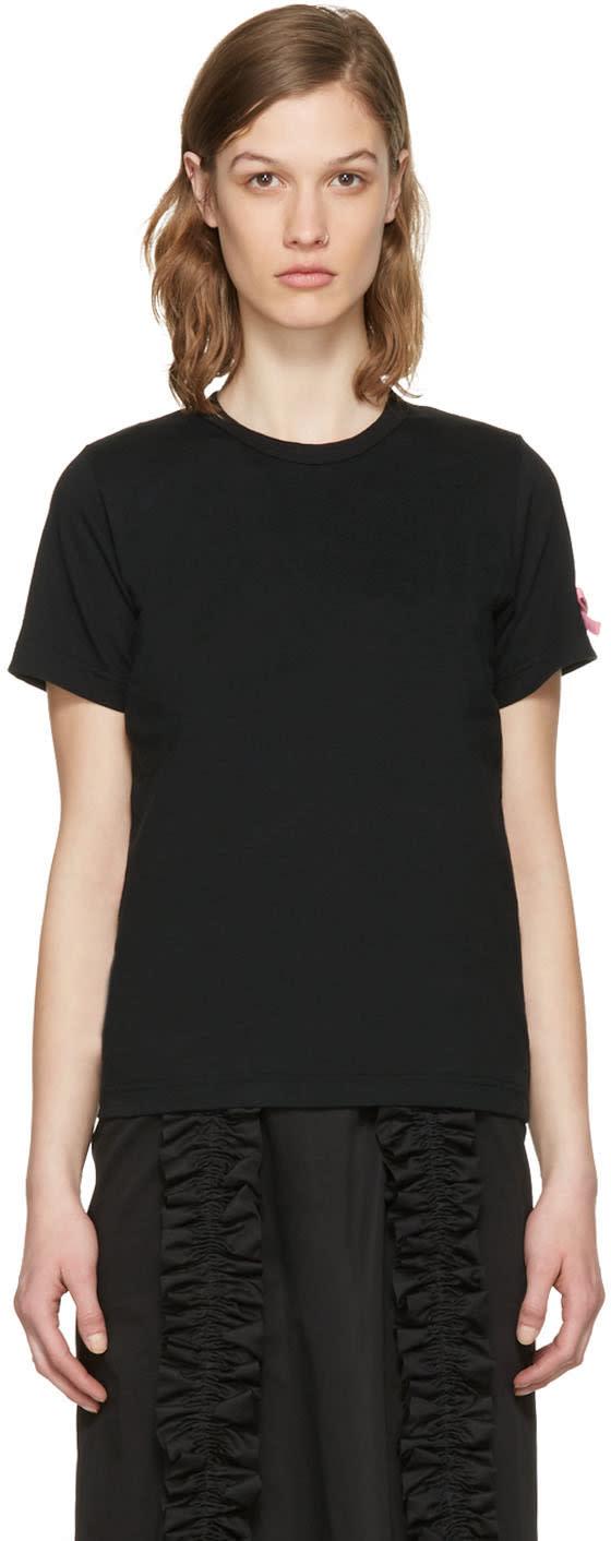 Comme Des Garcons Girl Black Pink Bow T-shirt
