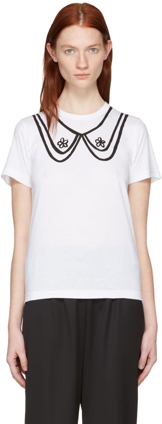 Comme Des Garcons Girl White Collar Print T-shirt