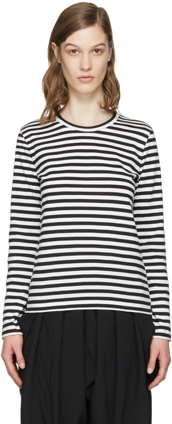 Comme Des Garcons Girl White and Black Striped T-shirt
