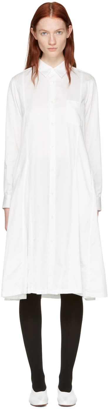 Comme Des Garcons White Cotton Shirt Dress