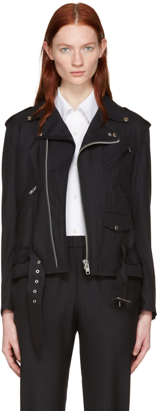 Comme Des Garcons Navy Pinstriped Wool Motorcycle Jacket