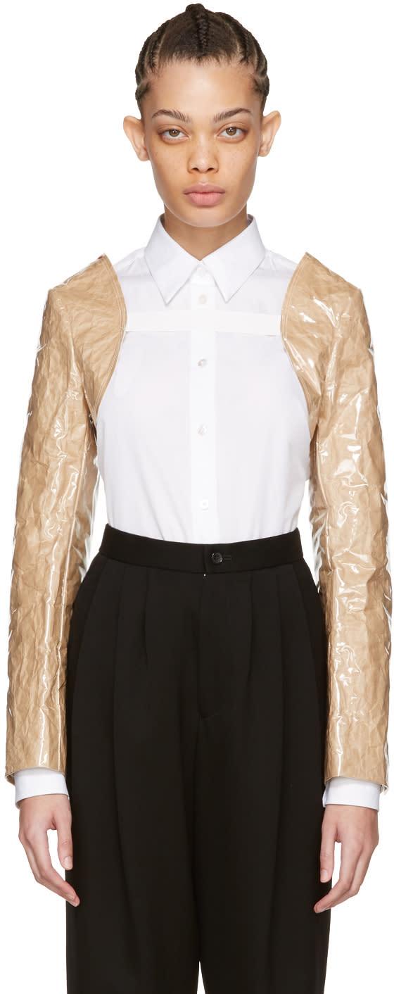 Image of Comme Des Garçons Comme Des Garçons Beige Pvc and Paper Bolero Jacket Sleeves
