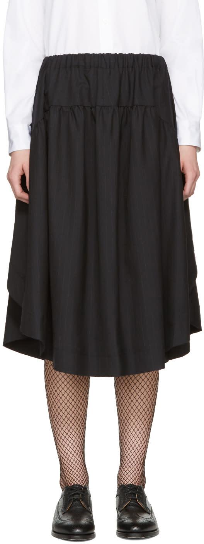 Comme Des Garcons Navy Pinstripe Draped Skirt