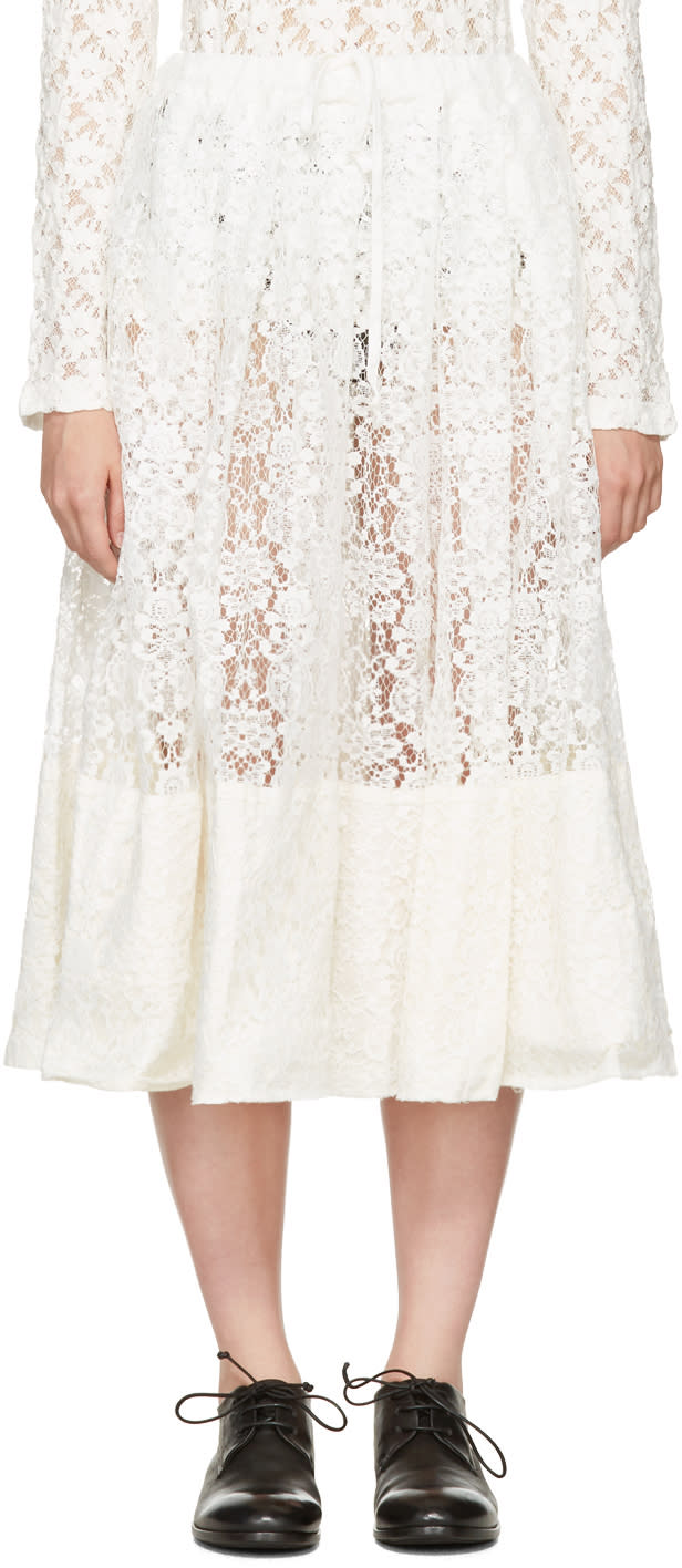 Comme Des Garcons Comme Des Garcons Off-white Lace Gathered Skirt