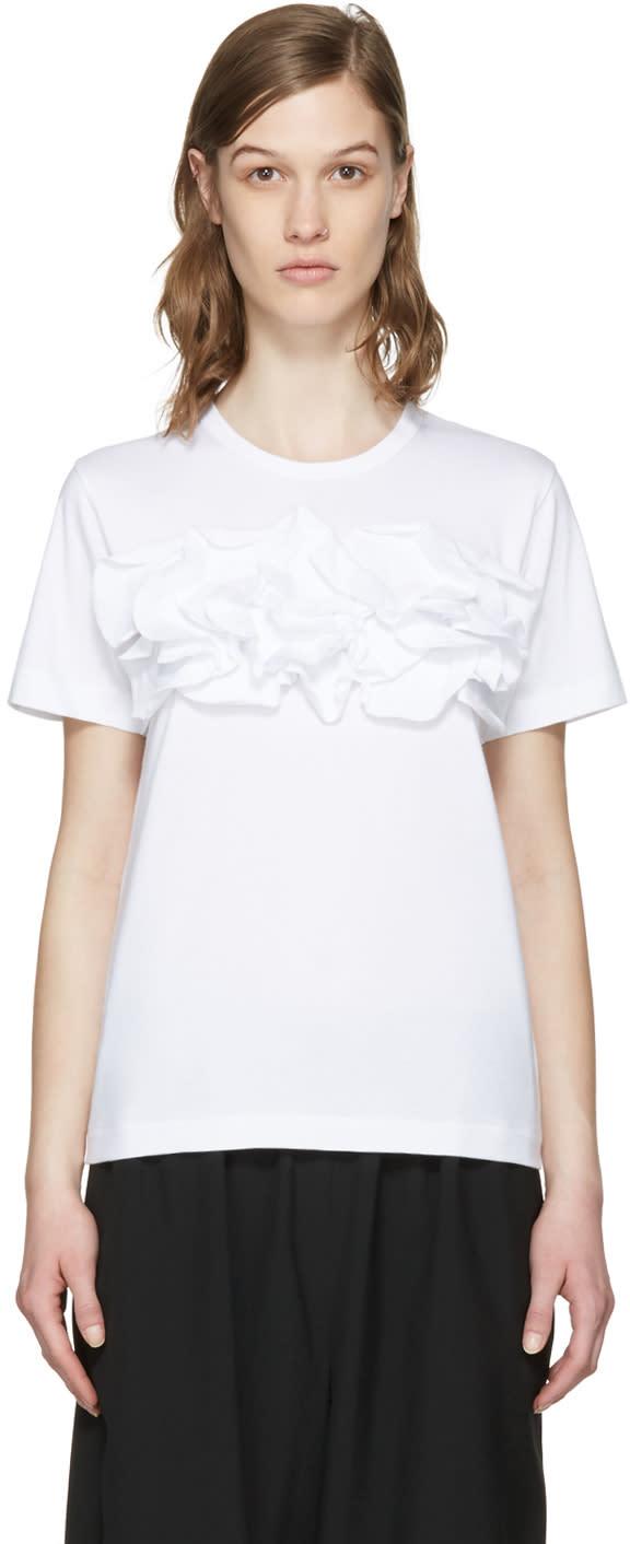 Comme Des Garcons White Ruffle T-shirt