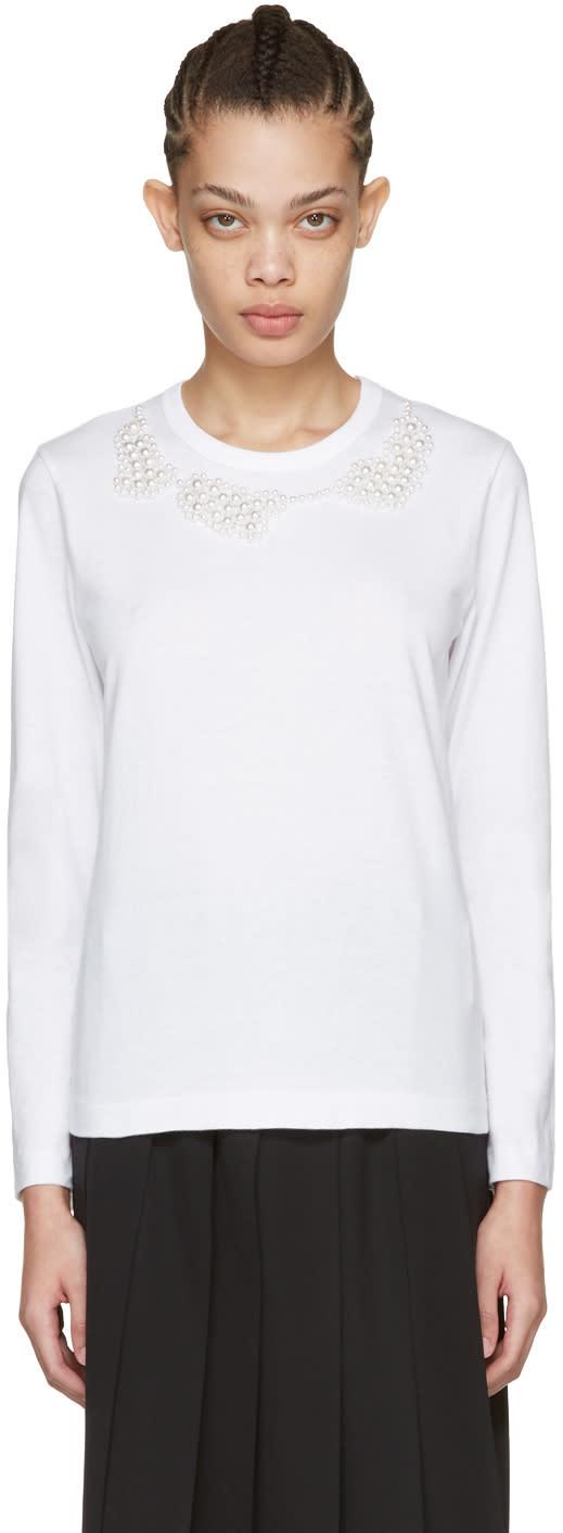 Comme Des Garcons White Pearl Necklace T-shirt