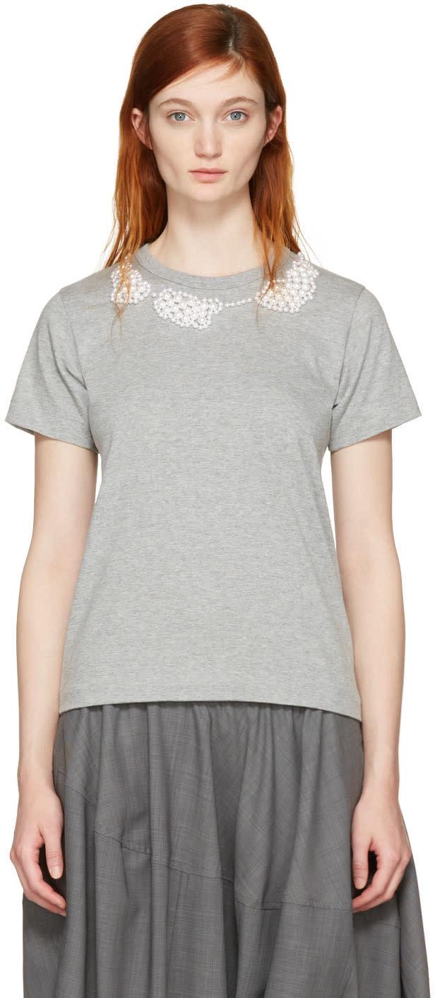 Image of Comme Des Garçons Comme Des Garçons Grey Pearl Necklace T-shirt