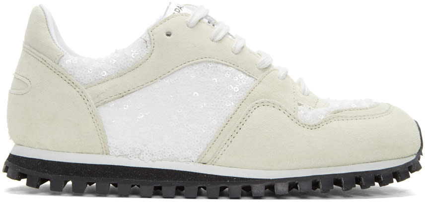 Comme Des Garcons White Spalwart Edition Sequin Sneakers