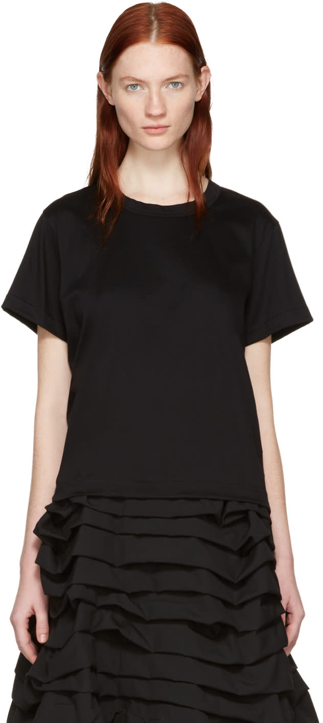 Noir Kei Ninomiya Black Grosgrain Tape T-shirt