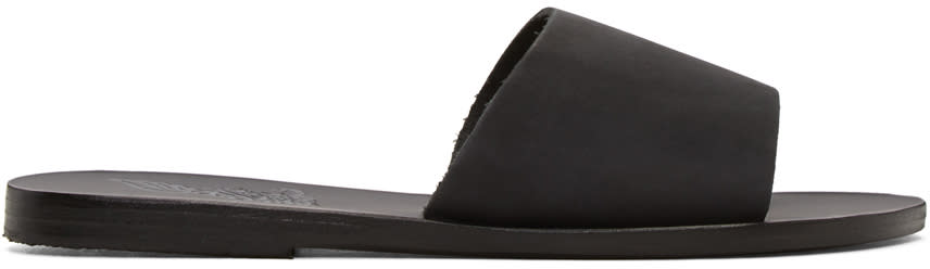 Ancient Greek Sandals Black Nubuck Taygete Sandals