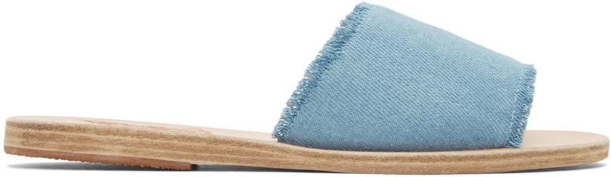 Image of Ancient Greek Sandals Blue Denim Taygete Sandals