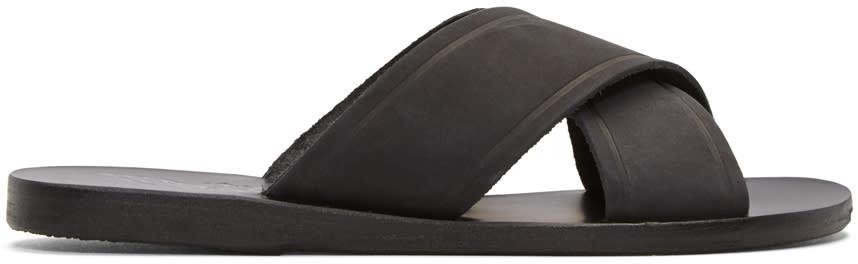 Ancient Greek Sandals Black Nubuck Thais Sandals