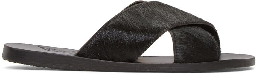 Ancient Greek Sandals Black Calf-hair Thais Sandals
