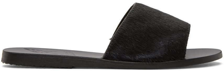Ancient Greek Sandals Black Calf-hair Taygete Sandals