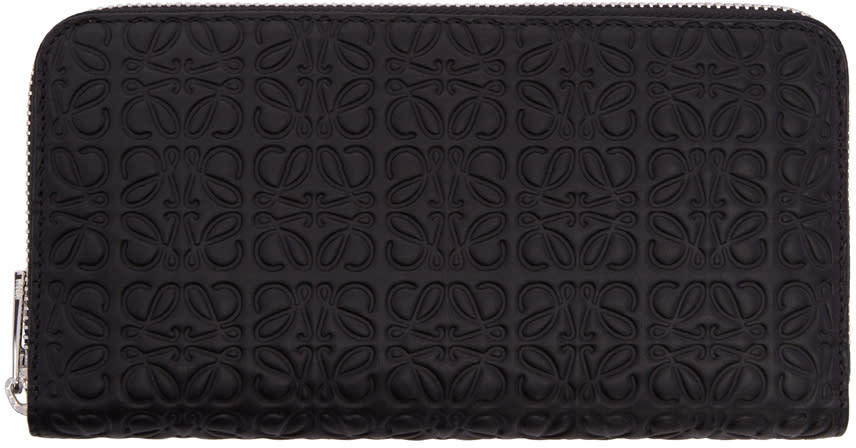 Loewe Black Zip Around Anagram Wallet