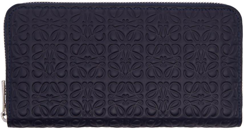 Loewe Navy Zip Around Anagram Wallet