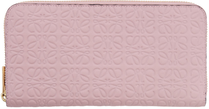 Loewe Pink Zip Around Anagram Wallet