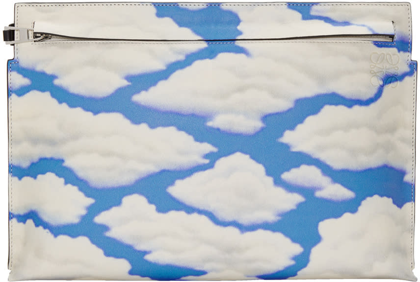 Loewe Black and Blue Handpainted Clouds T Pouch