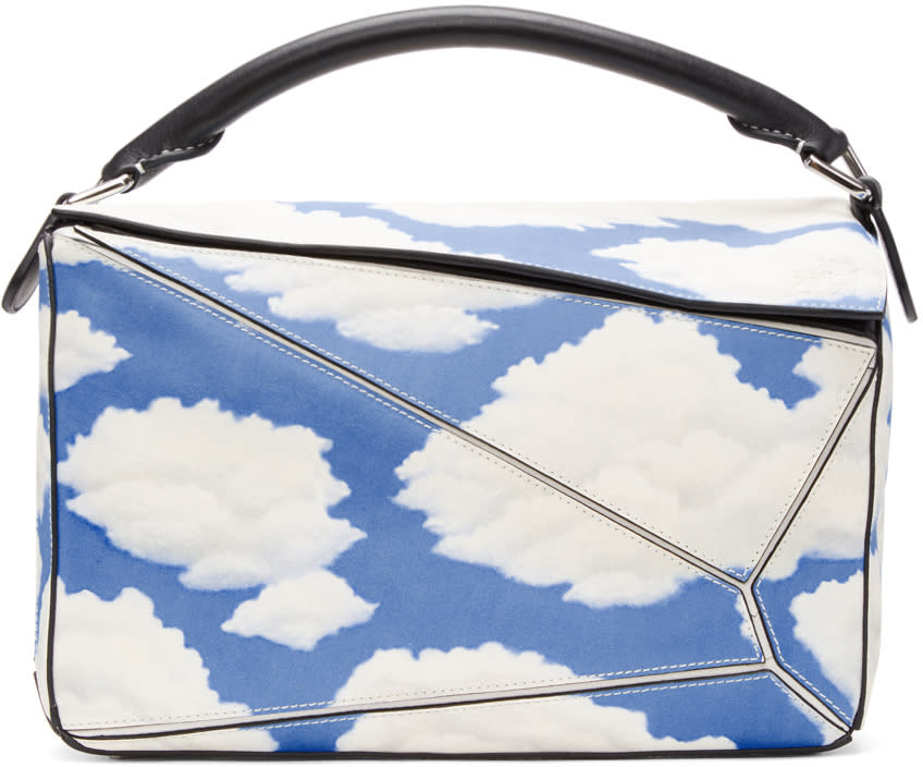 Loewe Black and Blue Handpainted Clouds Puzzle Bag