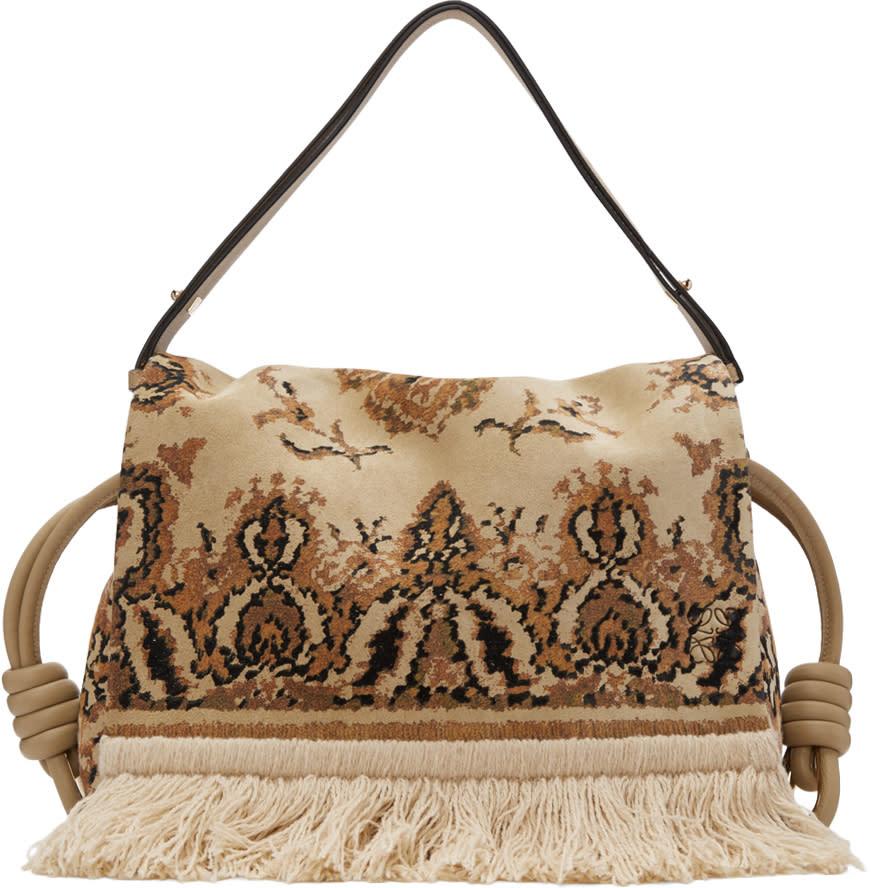 Loewe Beige Flamenco Flap Tapestry Bag