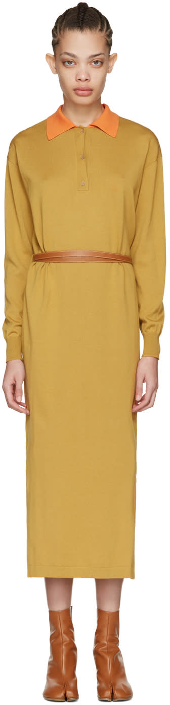 Loewe Tan Knit Polo Dress