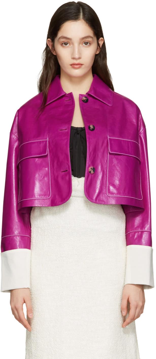 Loewe Pink Lambskin Cropped Jacket