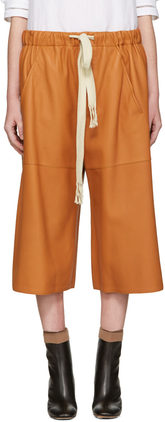 Loewe Orange Leather Shorts