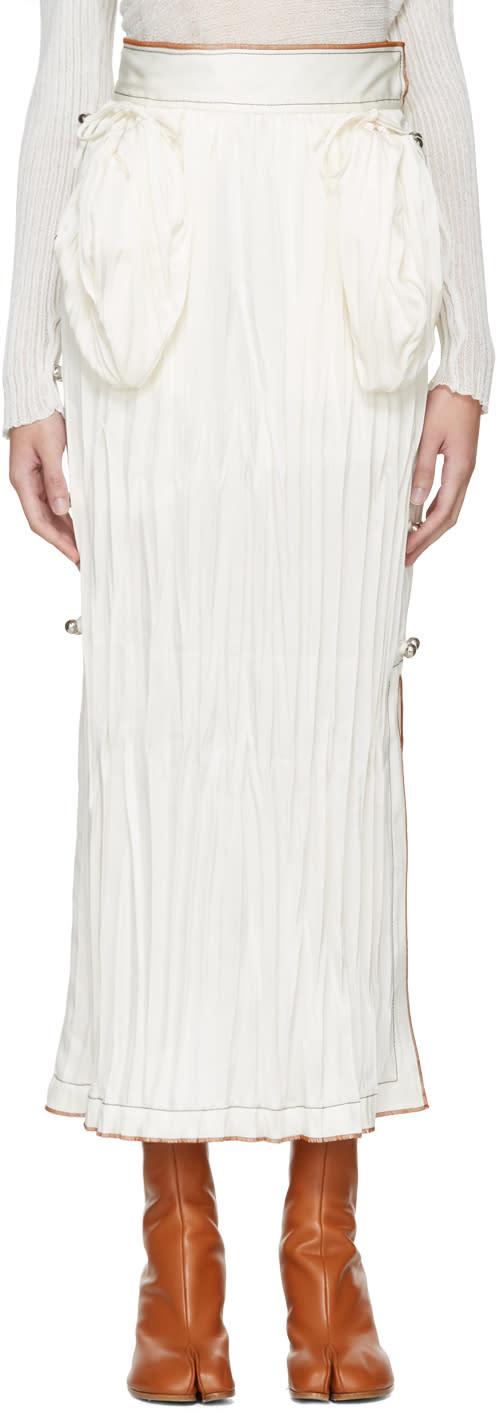 Loewe White Crinkled Skirt