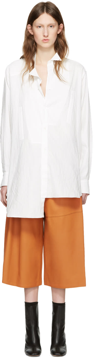 Loewe White Cotton Asymmetric Shirt