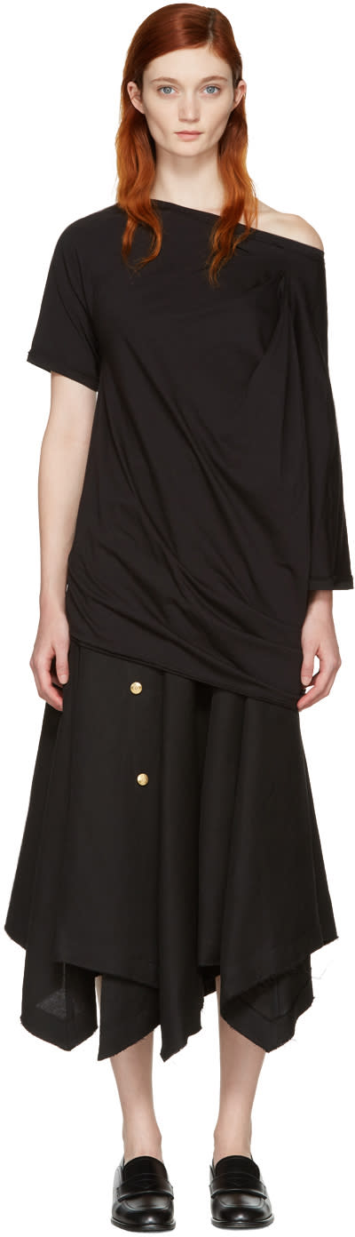 Loewe Black Asymmetric Draped T-shirt