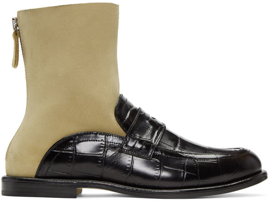 Loewe Black and Beige Sock Loafer Boots