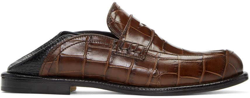 Loewe Brown and Black Slip-on Loafers
