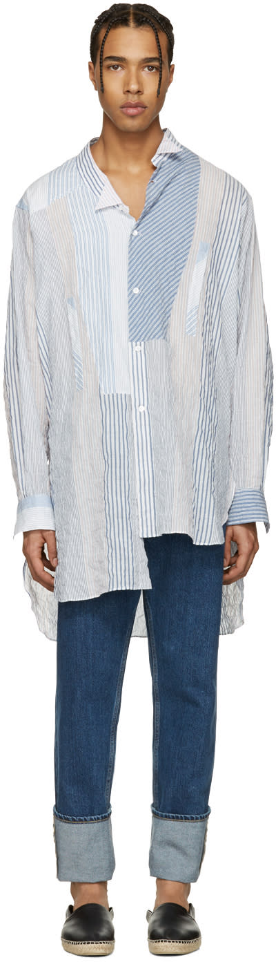 Loewe White Striped Asymmetric Shirt