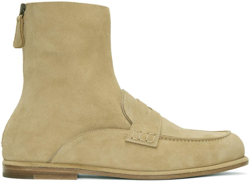 Loewe Beige Suede Loafer Hybrid Boots