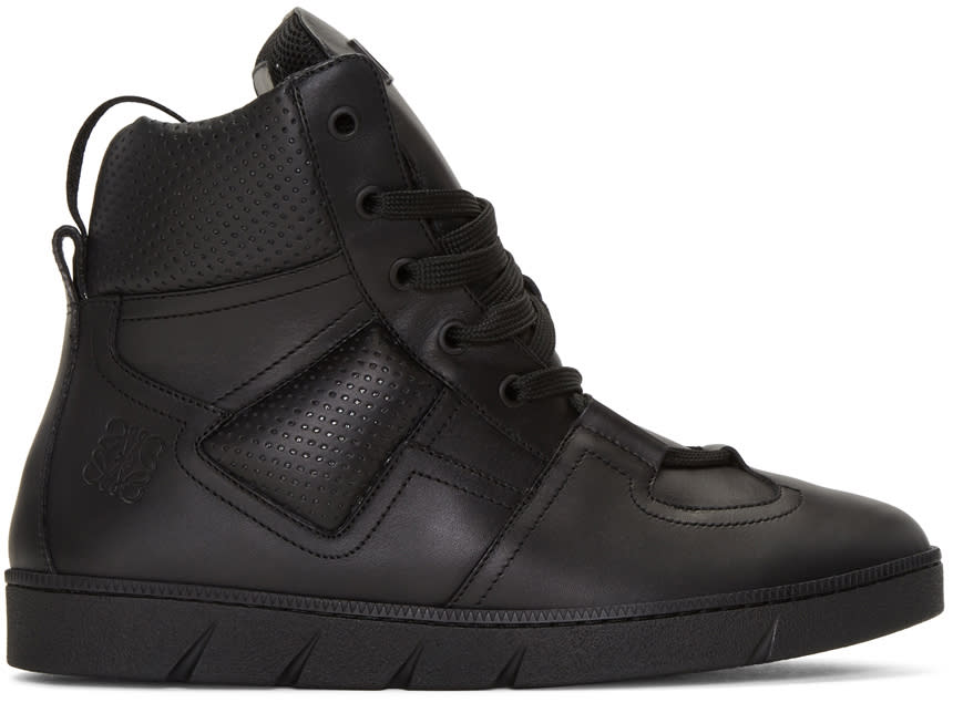 Loewe Black Leather High-top Sneakers