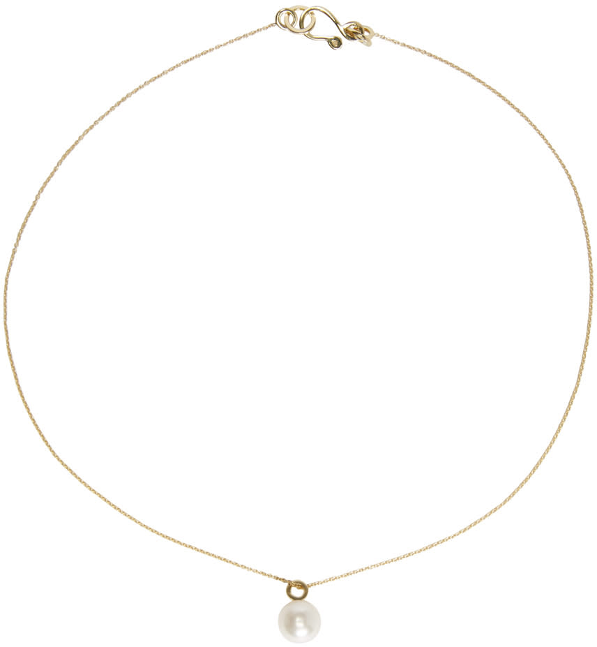 Image of Sophie Bille Brahe Gold Pearl Simple Necklace