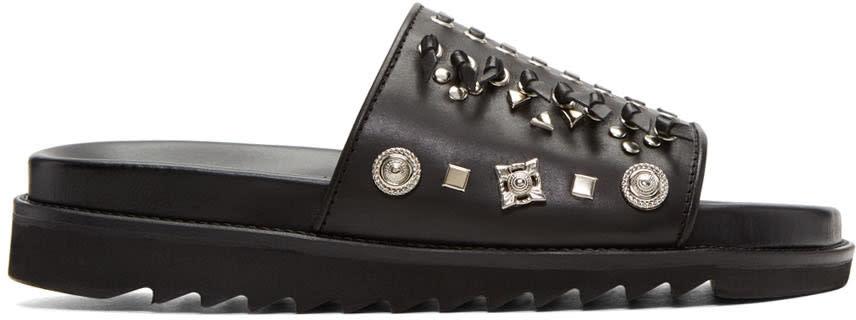 Toga Virilis Black Leather Sandals