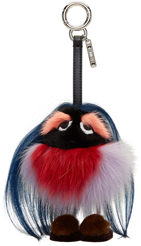 Fendi Navy Fur Mum Keychain