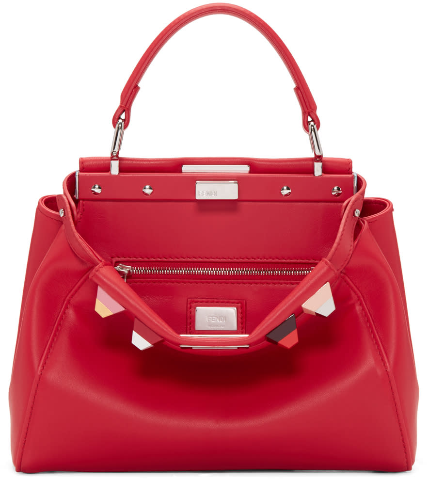 Fendi Red Studded Mini Peekaboo Bag