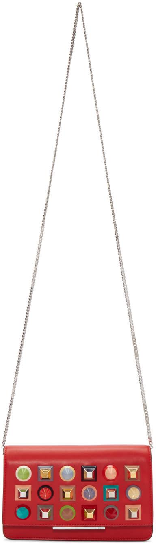 Fendi Red Studded Tube Chain Wallet Bag